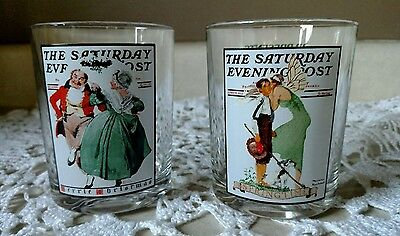 Norman Rockwell Saturday Evening Post Drinking Glasses set of 2