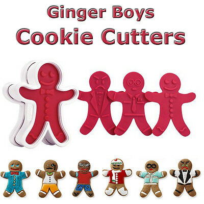 Gingerbread Man Ginger Boy Cookie Cutters Set 6, Baking Decorating Christmas New
