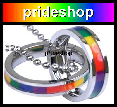 Rainbow Interlocking Rings Ball Chain Necklace Webbing Gay Lesbian Pride #596