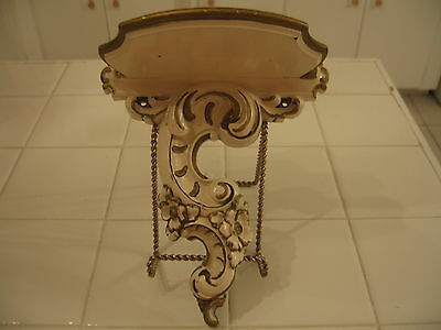 Vintage French Provincial Hollywood Regency Ornate Off White Gold Syroco Shelf