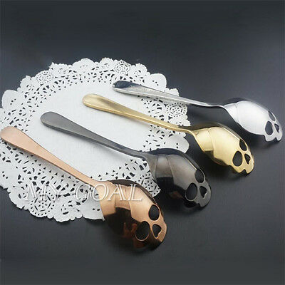 Skull Sugar Spoon Stainless Steel Tea Coffee Food Dessert Cutlery Teaspoon Tool
