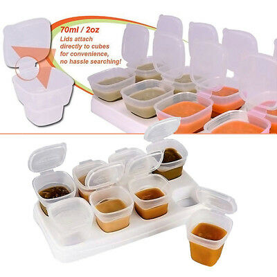 8pcs Baby Kids Weaning Food Freezing Cubes Tray Pots Storage Containers Box