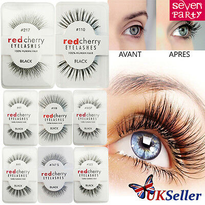 Lashes-Red Cherry 100% False Human Hair Eyelashes Makeup Eye Adhesives Natural