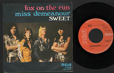 "7"" Sweet Fox On The Run / Miss Demeanour Made In Italy Rca 1975 Glam Hard Rock"