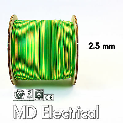 2.5 mm Single Core Conduit Cable 6491X Earth Yellow Green supplementary Bonding