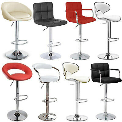 PU Leather Breakfast Bar Stool Swivel Kitchen Chrome Metal Base + Gas Lift