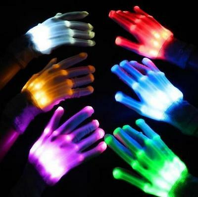 LED Light Gloves Finger Lighting Electro Rave Party Dance Skeleton Halloween NEW