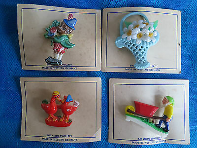 50/60er Anstecker Brosche Hartplastik Korb_Zwerg_Vogel_Clown W.Germany (3)