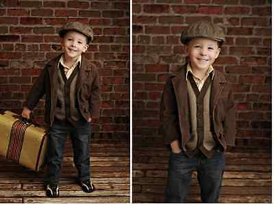 UK Brown Brick Wall Photography Studio Backdrop Background Baby Photoshoot PVC