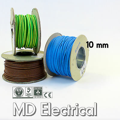 10 mm Single Core Conduit Cable 6491X Blue Brown Earth Yellow / Green Wire