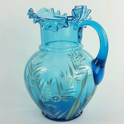 Antique Victorian Glass Pitcher with Enameled Flowers