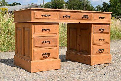 Retro Vintage Solid Pine Wooden Twin Pedestal Office Desk - 9 Drawers