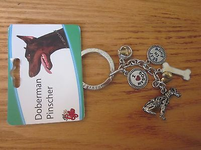 Doberman Pinscher Dog Little Gifts Key Chain Ring With Charms