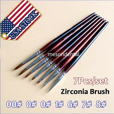 7pcs Dental Ermine Brush Zirconia Pen Lab Finest Sable Porcelain Hot Sale Fus