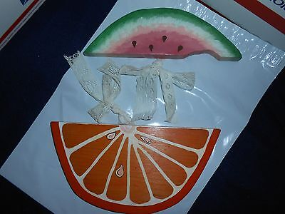 Lot 2 Hand Crafted Wooden Fruit Slices Watermelon Orange Home Garden Decor Craft