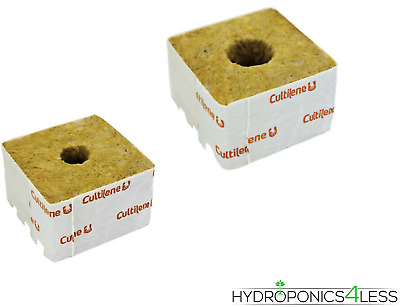 "Cultilene Rockwool Cubes Grow Blocks 3"" 4"" 6"" Small Large Hole Hydroponics"