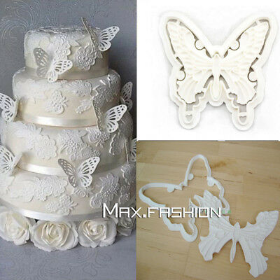 Big Vivid Butterfly Cookies Cutter Fondant Cake Embosser Icing Plunger Mold Tool