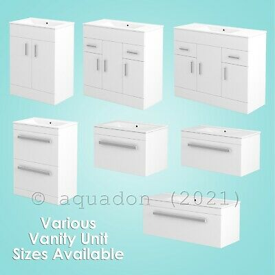 Turin Bathroom Vanity Unit Square Minimalist Design White Hi-Gloss Various Sizes
