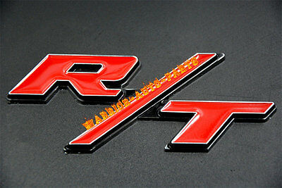 R/T RT Grill Trunk Metal Emblem Badge Sticker For Dodge Challenger Charger Red