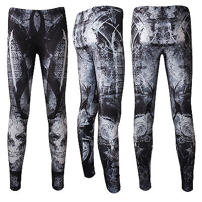 Gothic Church Windows Fantasy Tattoo Skulls Halloween Leggings Goth Punk Emo