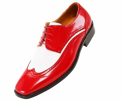 04cc899f19ba Bolano Mens Two-Tone Red and White Oxford Dress Shoe  Style P1056-005