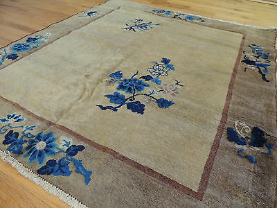 Antique Art Deco Chinese Square Oriental Area Rug 4x4 Wool Blue
