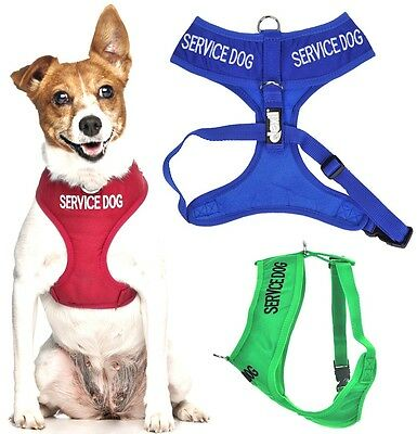 SERVICE DOG Vest Harness Non Pull Front Back Ring Padded Waterproof Adjustable
