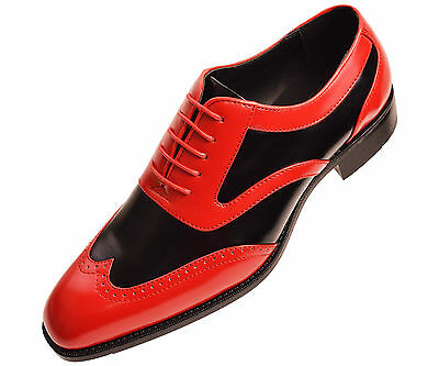 Bolano Men's Two-Tone Black and Red Smooth Oxford Dress Shoe:Style Phil-212