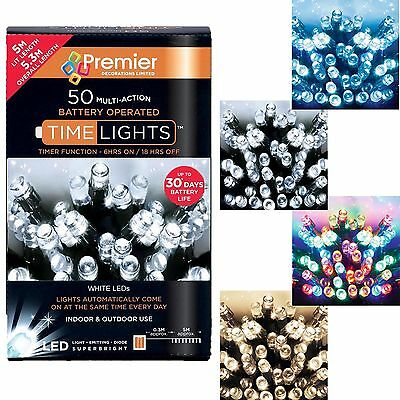 Premier 50 Christmas Battery Timer LED Lights - Indoor or Outdoor - 4 Colours