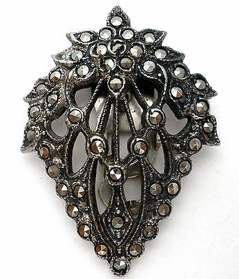 Vintage Sterling Silver Dress Clip with Marcasites 925 Fashion Fur Jewellery