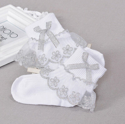 New Girls White and Silver Flower Frilly Christening Socks 1-8 Years