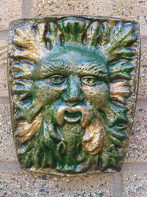 Gorse Greenman Garden Wall Plaque ornament - Hand Cast & Painted - PAGAN WICCAN