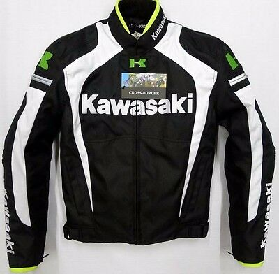 New Kawasaki Motorcycle Riding Jacket Men Winter Warm Racing Clothes Green White