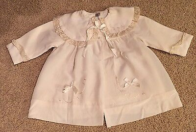 Vintage Silk Christening Coat  1955 Ivory Gown