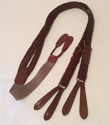 """TOMMY HILFIGER Men's 1"""" Suspenders Braided Weaved Brown Leather Brass Clasps"""