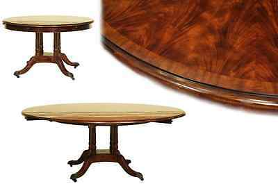 Round Expandable Formal Mahogany Dining Table with Leaves | High End Table