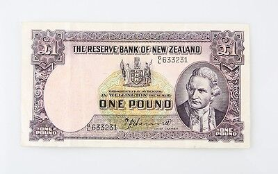 1940-1955 New Zealand One Pound Note Very Fine Reserve Bank of New Zealand VF £1