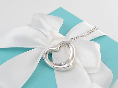 Tiffany & Co. Medium Open Heart Silver Pendant For Necklace Box Included