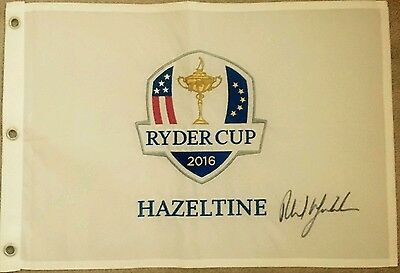 Phil Mickelson signed ryder cup 2016 hazeltine pin flag / COA