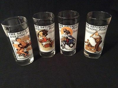 "NORMAN ROCKWELL 1987 ""The Saturday Evening Post"" Set of 4 VTG 16oz Glass Tumbler"