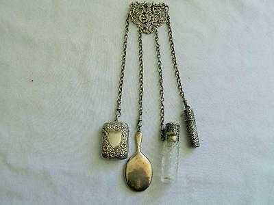 Antique Victorian English Sterling Silver 4 Chain Chatelaine Charles May