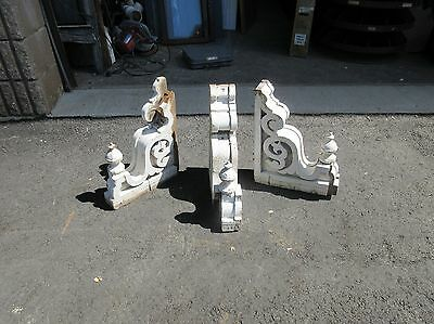 "THREE (3) victorian GINGERBREAD corbel BRACKETS w FINIALS * AS IS * 16"" x 11"""