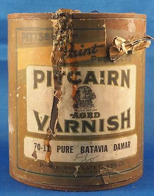 Vintage Pitcairn Aged Varnish Pure Batavia Damar Paint Can Advertising