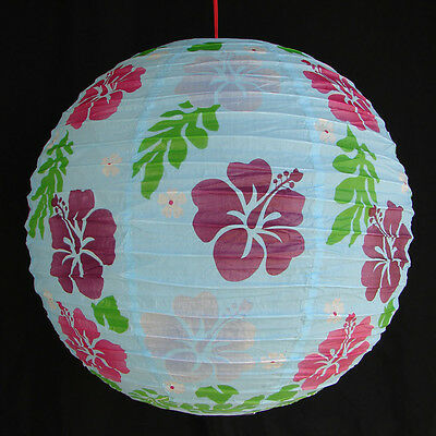 """2 of 16"""" Chinese Light Blue Paper Lanterns with Flower Pictures"""