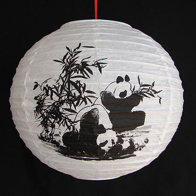 "2 of 12"" Chinese White Paper Lanterns with Pictures of Bamboo and Panda"