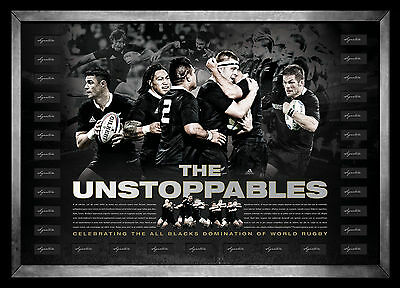 All Blacks Hand Signed Team Lithograph L/E Print Framed - The Unstoppables