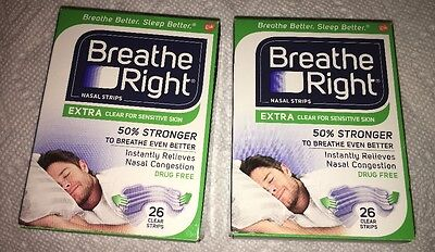 BREATHE RIGHT NASAL STRIPS, EXTRA CLEAR,  52 strips, overseas buyers welcome