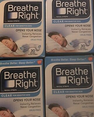 120 Breathe Right Original CLEAR Nasal Strips~Small/Med- Free Shipping