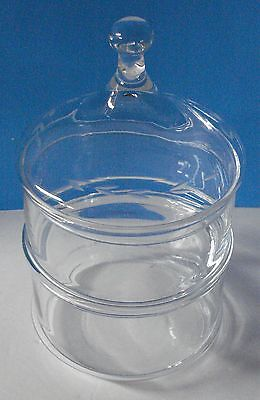 3 pc. Stacking Apothecary Storage Jar Candy Dish Etched Glass Clear - Trinkets