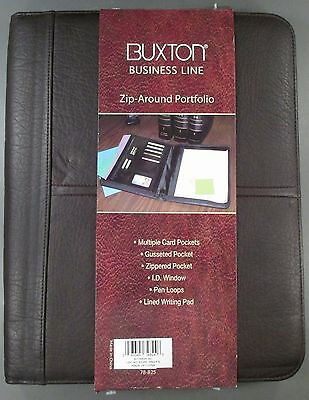 Buxton Business Line Unisex Soft Faux Leather Zip-Around Professional Portfolio